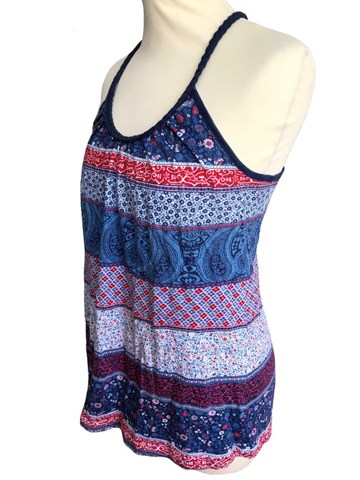 Blue & Red Patchwork Striped Racerback Summer Top, Floral Paisley Pattern Braided Cord Detail Beach Tropical Yoga Relax Boho Cotton Tank Top