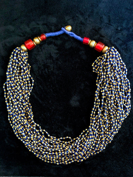 Blue & Gold Glass Bead Torsade Necklace, Indian Tibetan Hippie Tribal Gypsy Multistrand Vintage Necklace, Boho Ethnic Statement Twist Choker