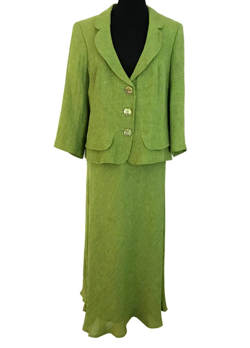 90s Apple Green Linen Jacket & Skirt Suit, Two Piece Career Business Occasion Cocktail Wedding Guest Attire Races Outfit Dress Set UK16 US12