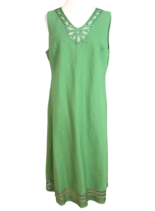 Pistachio Mint Green Linen Cotton Lace Detail Dress, A-Line Summer Sleeveless Day Dress, V-Necklace Lace Hem Mid-Length Occasion Party Dress