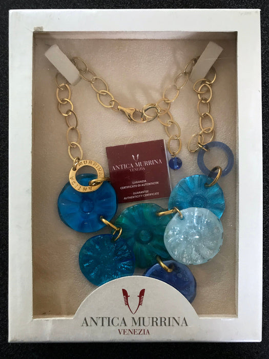 Blue Murano Glass 24kt Gold Leaf Necklace, Hand Blown Golden Layered Blue Gold Bib Charm Necklace, Prom Wedding Mother's Day Gift Necklace