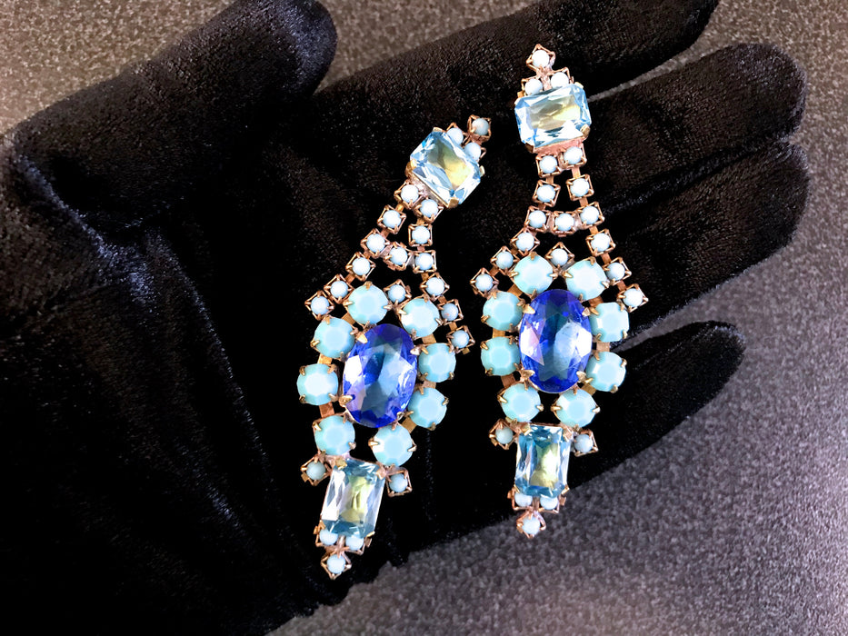 Old Czech Blue Crystal Glass Earrings, Art Deco Style Chandelier Opaque Glass & Rhinestone Handmade Drop Dangle Puzett Pierced Gift Earrings