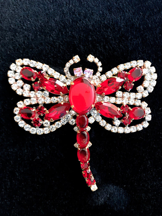 Old Czech Crystal Glass Dragonfly Brooch, HUGE Red Jelly Belly & Rhinestones Handmade Mardi Gras Carnival HUSAR.D Signed Brooch Lapel Pin