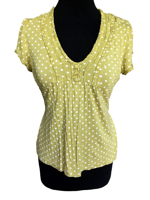 90s Chartreuse Green Polka Dot Top, Lace Trim Frilled Folk Style Boho Hippie Short Sleeve Top, Summer Beach Country Girl Casual Sexy Top