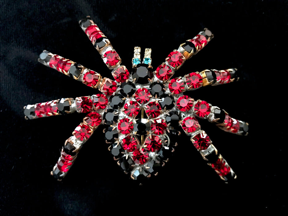 Old Czech Crystal Glass HUGE Bombe Spider Brooch, Red Black Blue Rhinestone Handmade Halloween Mardi Gras Carnival LARGE High Tarantula Pin