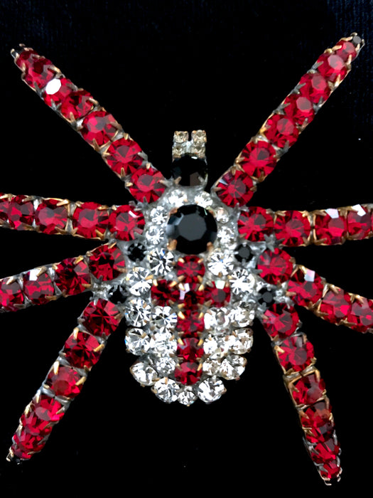 Old Czech Crystal Glass HUGE Bombe Spider Brooch, Red Cross Clear Rhinestones Handmade Halloween Mardi Gras Carnival LARGE Tarantula Pin