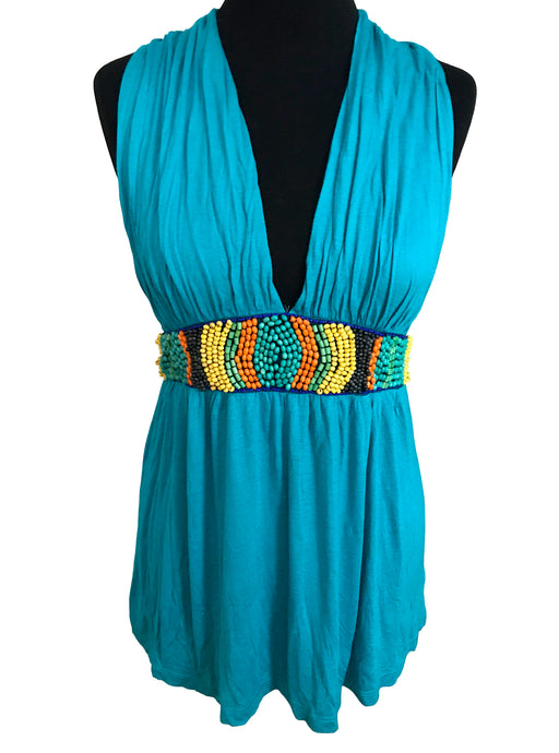 90s Turquoise Blue Plunge Tunic Top, Back Straps Rainbow Beaded Band Detail Southwest Aztec Inspired Low Back Top, Summer Beach Tropical Top