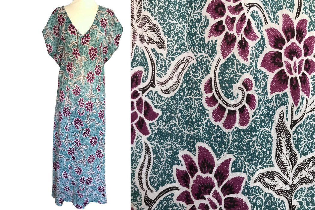 Anokhi for East Cotton Voile Bias Cut Dress, Tropical Hawaiian Floral Print Teal Blue Green & Cerise Red Kimono Sleeve Summer Dress sz LARGE