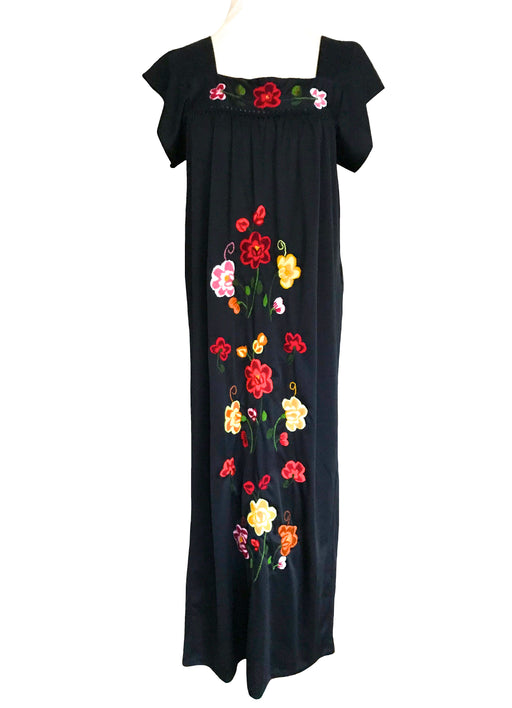 70s Mexican Style Embroidered Floral Kaftan Dress, Black Red Yellow Pink Short Sleeve Day of the Dead Festival Fiesta Boho Hippie Maxi Dress