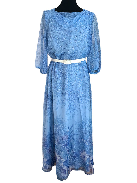 60s 70s Cowl Neck Blue Chiffon Floral Maxi Dress, MOD Boho Hippie Carnaby Style Wedding Guest Races Summer Festival Garden Party Dress, M-L