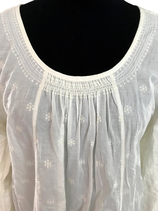 EAST London Cream Ecru Embroidered Blouse, UK 16 US 12 A-Line Trapeze Parachute Cotton Top, Gypsy Boho Hippie Festival Scoop Neck Tunic Top
