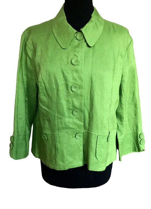 HOBBs London Apple Green Linen Jacket, Button Down Summer Ladies Jacket Top sz Large, 3/4 Sleeve Smart Casual Career Cocktail Cruise Jacket