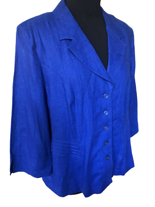 Country Casuals Royal Blue Linen Jacket, Button Down Summer Ladies Jacket Top Large, 3/4 Sleeve Smart Casual Career Cocktail Cruise Jacket