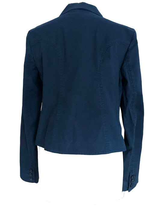 Mark Jacobs Navy Blue Cotton Spencer Jacket, Ladies Career Business Smart Casual Summer Fall Jacket Vest, Pure Cotton Blue Jacket sz Medium