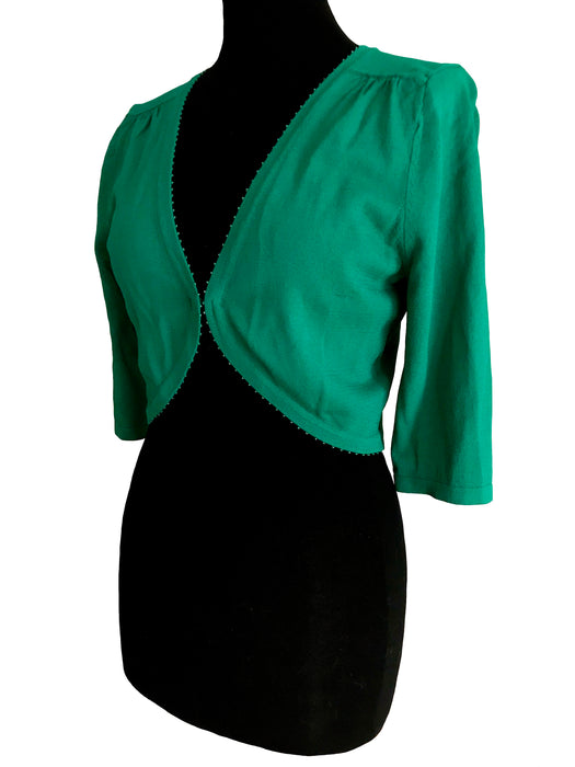 Vintage Emerald Green Jersey Bolero Shrug, 40s Style Smart Casual Viscose Knit Open Front Short Cardigan, Jungle Green Beaded Stretch Cover