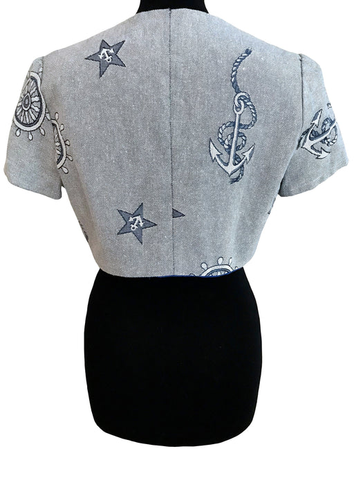 Tapestry Style Nautical Bolero Jacket, Anchor Cruise Yacht Occasion Wedding Guest Cropped Jacket, Rockabilly Pin Up Summer Sailor Shrug,