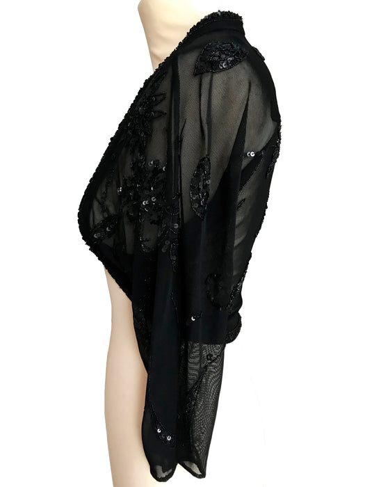 Alberto Makali Black Lace Bolero Shrug, Beaded Sequin Net Mesh Lace Raglan Sleeves Evening Party Ball Opera Cropped Jacket Overlay Cover