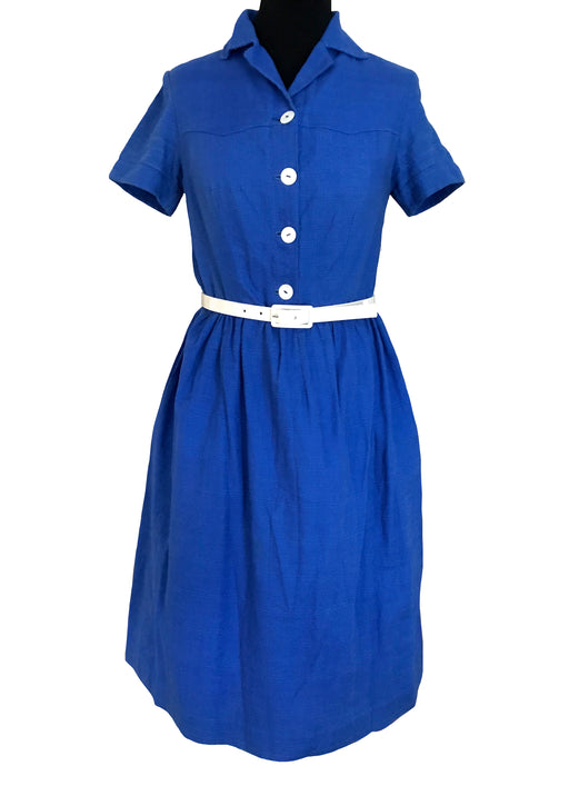 50s Blue Linen Big Lucite Button Swing Dress, Mother of Pearl Buttoned Shirtwaist Nautical Summer Pin Up Rockabilly Party Festival Dress M
