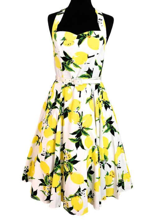 50s Style Cotton Lemon Print Sun Dress, Yellow Halter Neck Summer Garden Party Open Back Pinup Rockabilly Sweetheart Swing Festival Dress XL