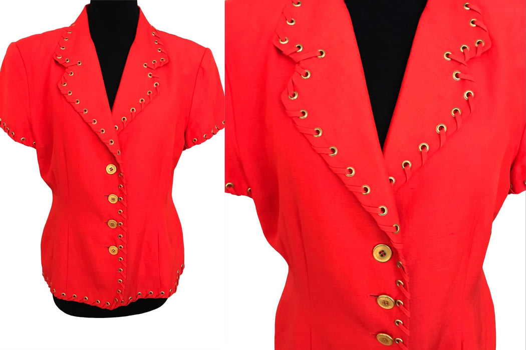 80s Mondi Orange Red Silk & Linen Nautical Jacket, Ladies Fitted Short Sleeve Decorated Golden Buttons Summer Cruise Cocktail Yacht Blazer