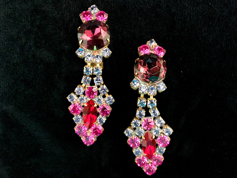 Old Czech Glass Multicolor Earrings, Art Deco Style Pink Purple Blue Red Rhinestone Handmade Dangle Triangle Chandelier ClipOn Gift Earrings