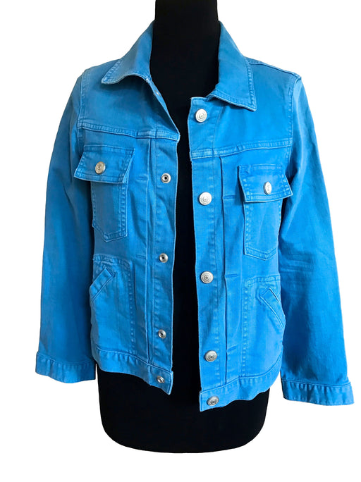 Marc by Marc Jacobs Bold Blue Denim Jacket, Fitted Stretchy Poppin Blue Ladies Jean Jacket Top, Smart Casual Grunge Street Style Denim Top S