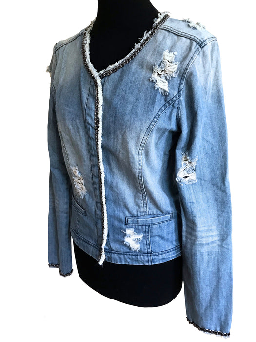 Washed Light Blue Denim Grunge Jacket, Distresses Ripped Jean Moto Jacket with Chain Trim, Fitted Hippie Ladies Street Style Military Top M