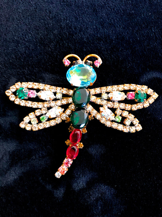 Old Czech Crystal Glass Dragonfly Brooch, HUGE Blue Green Red Pink Rhinestone Handmade Mardi Gras Carnival HUSAR.D Signed Brooch Lapel Pin
