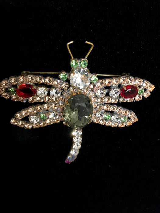Old Czech Crystal Glass Dragonfly Brooch, HUGE Green Pink Red Rhinestone Handmade Mardi Gras Carnival HUSAR.D Signed Brooch Lapel Scarf Pin