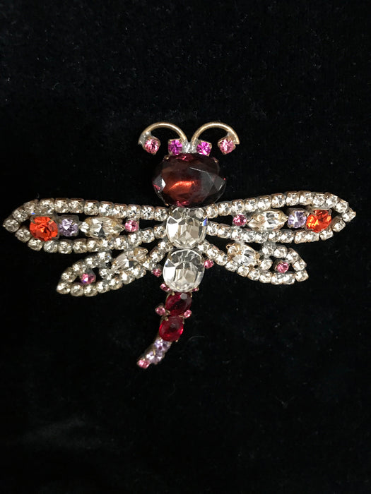 Old Czech Crystal Glass Dragonfly Brooch, HUGE Purple Red Pink Lilac Rhinestone Handmade Mardi Gras Carnival HUSAR.D Signed Brooch Lapel Pin