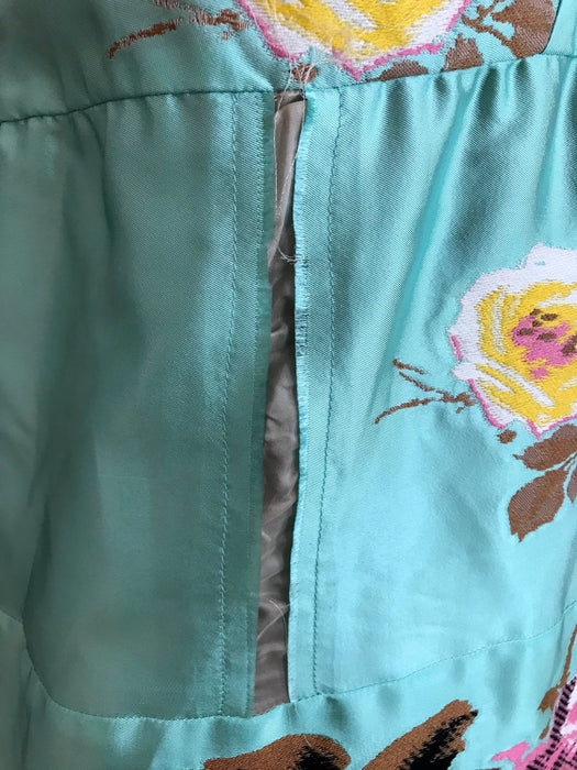MARNI Lagoon Blue Silk Cotton Tapestry Top, Embroidered Raw Seam Funky Tank Top with Black Straps, Designer Silk Summer Occasion Party Top M
