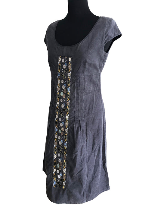 Dove Grey Needle Cord Applique Panel Slip Dress, MOD Style Empire Waist Folk Inspired A-Line Cap Sleeve Embroidered Sheath Above Knee Dress
