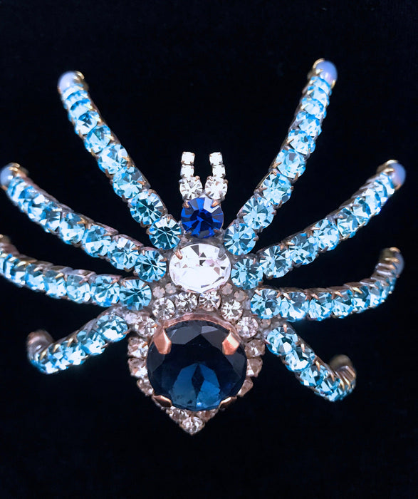 Old Czech Crystal Glass HUGE Bombe Spider Brooch, Sky & Cobalt Blue Rhinestones Halloween Mardi Gras Carnival LARGE Tarantula Shoulder Pin