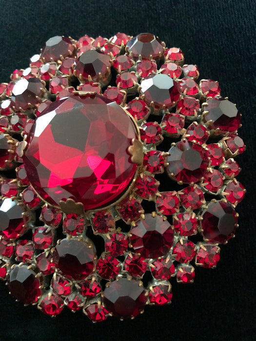 Old Czech Crystal Garnet Glass Brooch, HUGE Deep Red Rhinestone Xmas Mardi Gras Carnival Easter Brooch Pin, LARGE Circle Round Lapel Hat Pin