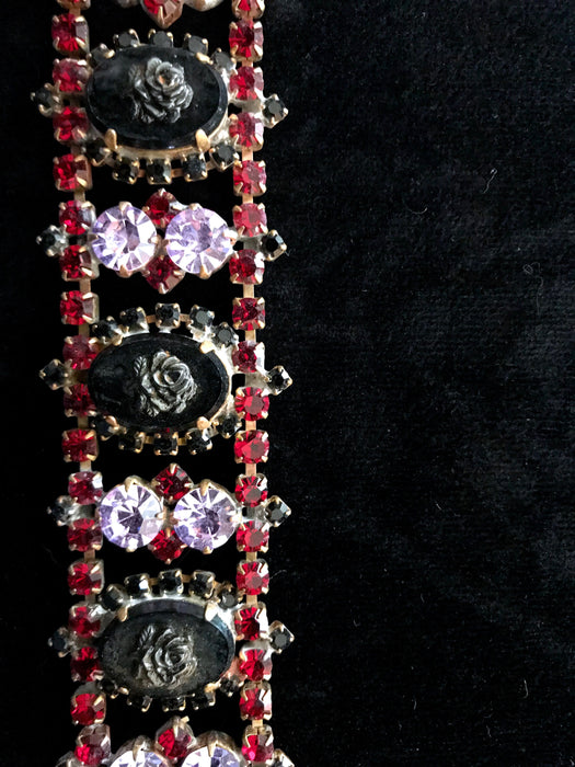 Art Deco Style Jet Black Glass Cameo Bracelet, Old Czech Ruby Red Lilac Rhinestones Carved Glass Roses Xmas Wedding Evening Panel Bracelet