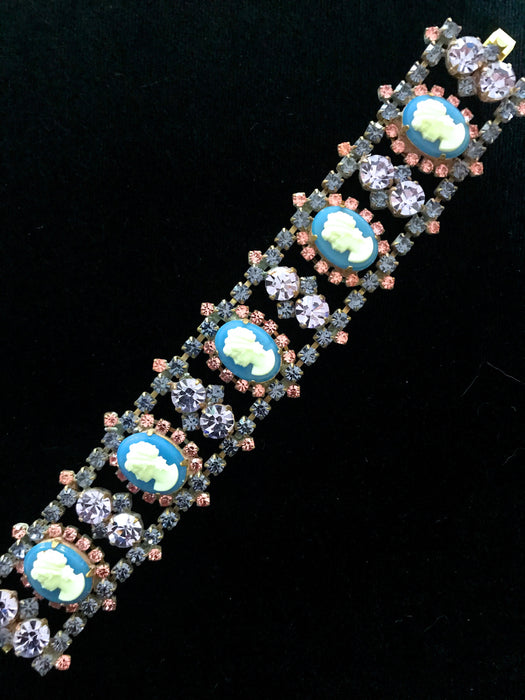 Art Deco Style Blue Glass Cameo Bracelet, Old Czech Pink Blue Lilac Rhinestones Carved Glass Roses Xmas Wedding Evening Link Panel Bracelet