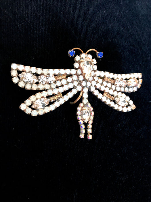 Old Czech White Crystal Glass Dragonfly Brooch, HUGE Clear & Blue Rhinestone Handmade Xmas Easter Mardi Gras Carnival Brooch Lapel Scarf Pin