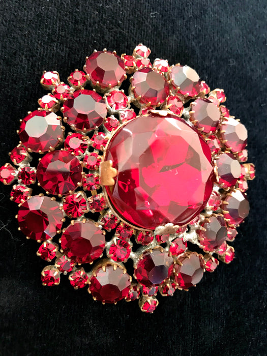 Old Czech Crystal Garnet Glass Brooch, HUGE Deep Red Rhinestone Xmas Mardi Gras Carnival New Year Brooch Pin, LARGE Circle Round Lapel Pin