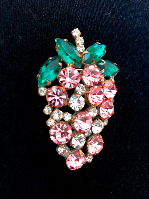 Old Czech Large Crystal Glass Brooch, Grapes Raspberry Oval Pink Green Clear Rhinestones Handmade Mardi Gras Carnival Lapel Scarf Shawl Pin