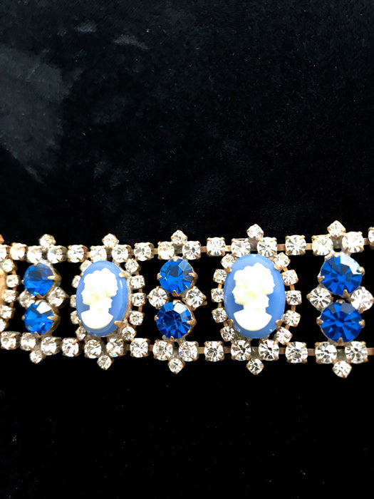 Victorian Style Blue Glass Cameo Bracelet, Old Czech Cobalt Blue & Clear Rhinestones Carved Glass Xmas Wedding Evening Link Panel Bracelet