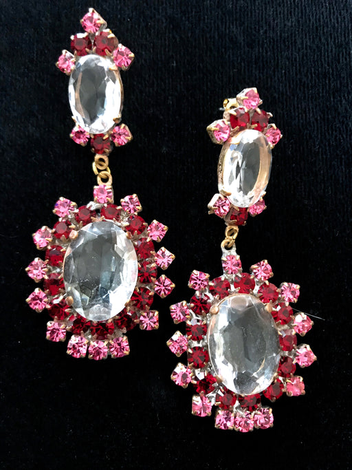 Old Czech Crystal Glass Pink Earrings, Art Deco HUGE Pink Red & Clear Rhinestone Handmade HUSAR.D Drop Dangle Clip On Jablonec Gift Earrings