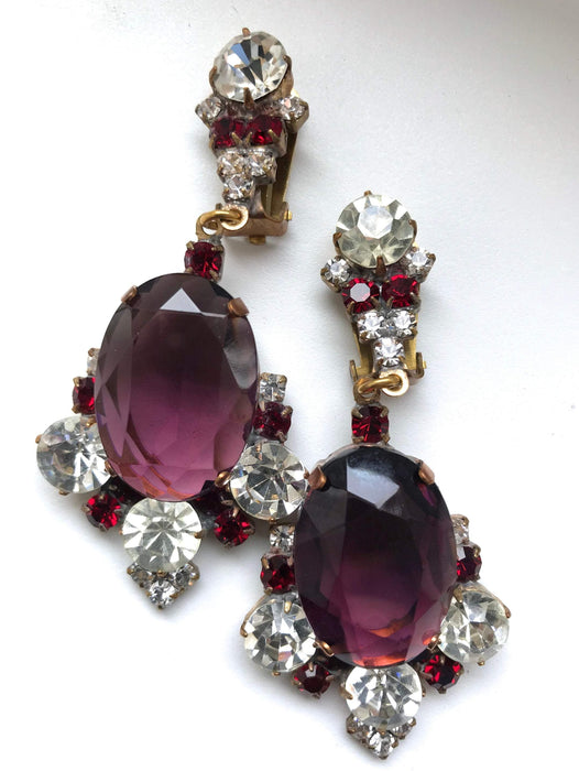 HUGE Art Deco Old Czech Crystal Glass Purple Red Rhinestone Drop Dangle Clip Earrings
