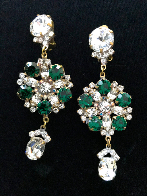 Old Czech Crystal Glass Green Xmas Earrings, Art Deco HUGE Rhinestone Drop Dangle Clip On Earrings, Mardi Gras Carnival New Year Earrings