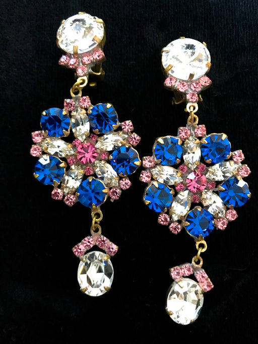 Old Czech Crystal Glass Blue & Pink Earrings, Art Deco HUGE Rhinestone Drop Dangle Clip On Gift Earrings, Mardi Gras Carnival Xmas Earrings
