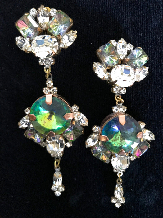 Old Czech Crystal Glass Xmass Green Earrings, HUGE Watermelon Rainbow Glass & Clear Rhinestone Drop Dangle Czechoslovakia Clip Gift Earrings