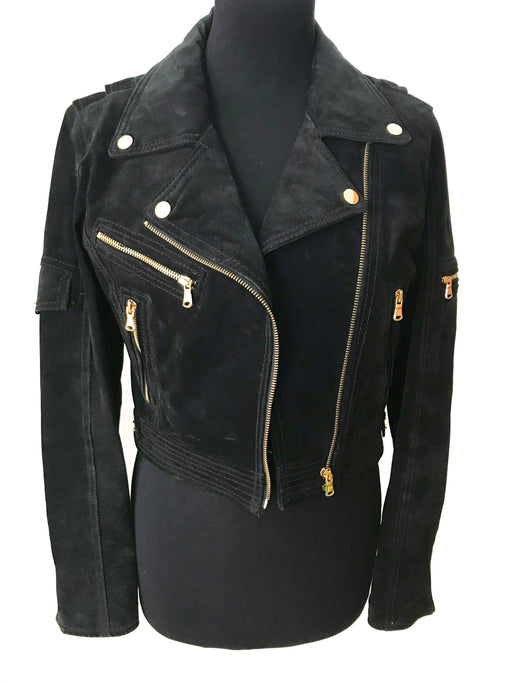Genuine Black Suede Leather Rocker Moto Jacket, Scandinavian Designer Quality Suede Rockabilly MOD Ladies Cropped Biker Jacket w/ Fab Lining
