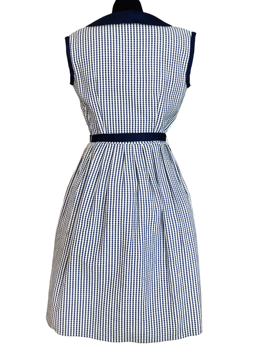 50s Blue & White Dash Striped Swing Dress, Nautical Summer Chelsea Collar Belted Day Dress, Shirtwaist Summer Pleated Pinup Rockabilly Dress