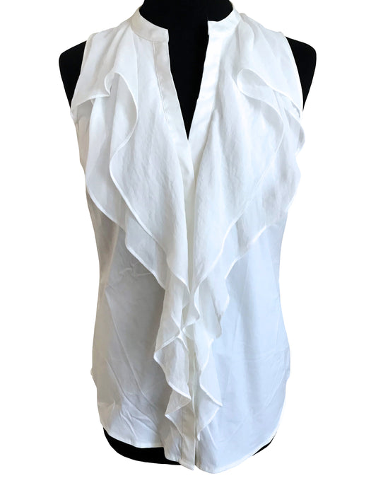 Ann Tailor White Sleeveless Buttoned Top Chiffon Collar, V-Neck Layered Frill Collar Summer Career Business Formal Secretary Top Blouse sz S