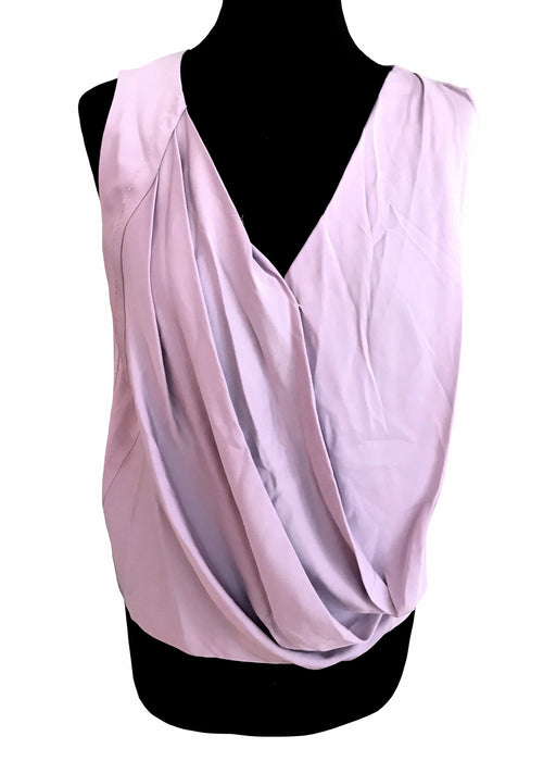 DVF Silk Lilac Lavender Pastel Color Flapper Top, Plunge Neck Sleeveless Draped Blouse, 20s Gatsby Style V-Neck Smart Formal Top Blouse Top