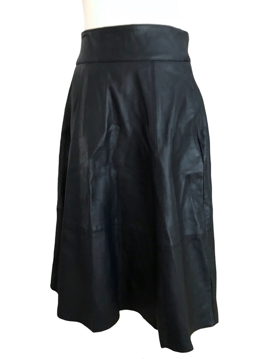 50s Style Real Leather Half Circle Skirt w/ Wide Open Silver Zip, Rockabilly Rocker Punk Gothic Black Leather Urban Street Midi Skirt sz M